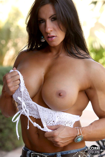 Muscular fbb strips and fucks herself with a big dildo - 3 part 3
