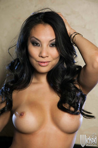 Asa Akira Naked on Black Leather