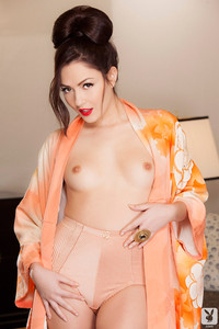 Cassie Laine Exotic in Silk Robe and Panties